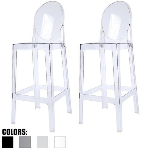 "2xhome Set of Two (2) Clear 30"" Seat Height Bar Stool Modern Plastic Chair Counter Accent Lounge No Arms Less"