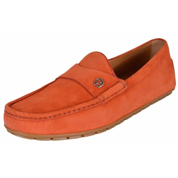Gucci Men's 386587 Orange Suede Interlocking GG Drivers Loafers Shoes 10.5G