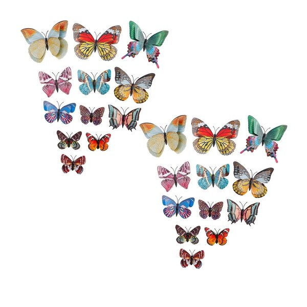 24pcs 3D Fluorescent Butterfly Wall Sticker with Sticker for Bedroom Yellow