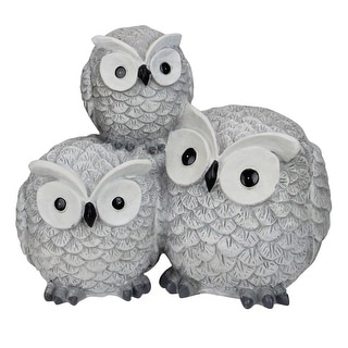 """7.25"""" Gray Wide Eyed Outdoor Stacked Owl Garden Statue - N/A"""