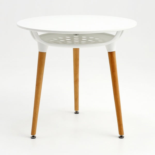 Mcombo Modern Round White Dining table Leisure Wood Tea Table Office Conference Pedestal Desk With Storage