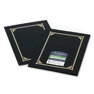Certificate/Document Cover Linen Stock Black Six per Pack