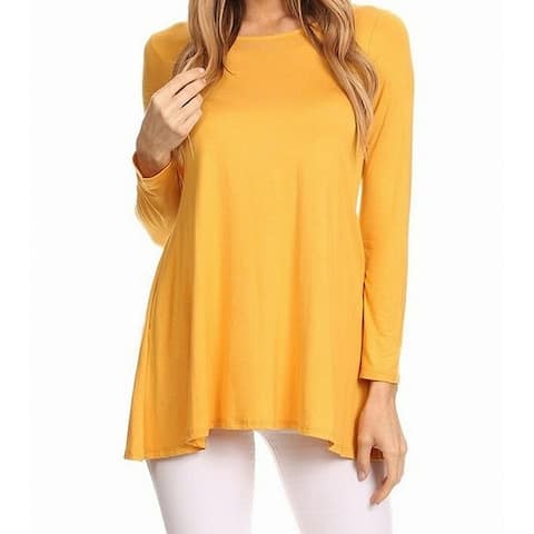 MOA Collection Women's Blouse Mustard Yellow Size XXL Plus Boat-Neck Dolman