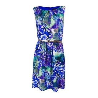 Connected Apparel Women's  Sheath Floral Belted Dress - Wedgewood Blue