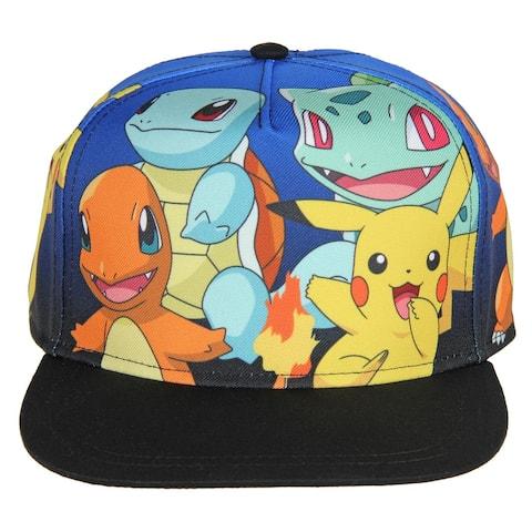 Pokemon The Original Starters Group Blue Gradient Youth Snapback Cap