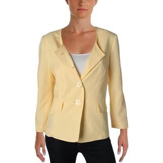 Le Suit Womens British Isles Four-Button Blazer Seersucker Collarless - 10