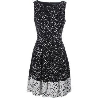 Lauren Ralph Lauren Womens Polka Dot Sleeveless Cocktail Dress