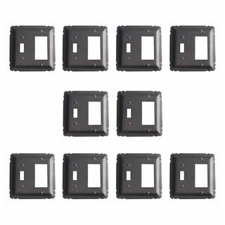 10 Switchplate Black Wrought Iron GFI/Toggle 5 1/4
