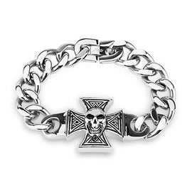 316L Steel Cast Bracelet Celtic Cross With Skull (32 mm) - 9 in