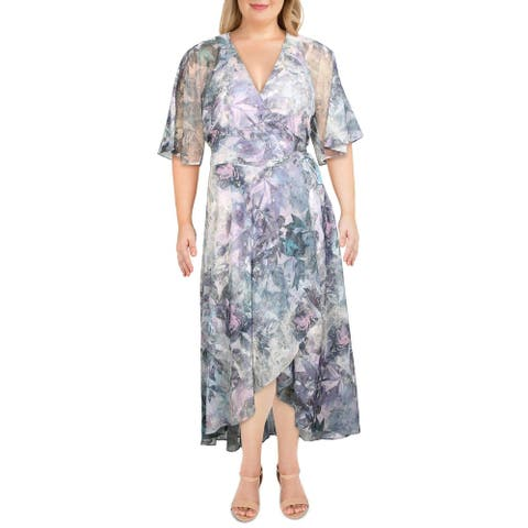 City Chic Womens Maxi Dress Floral Print Wrap - Crystal