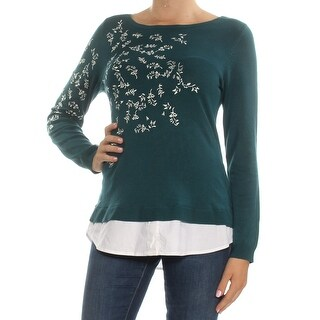 Womans Green Embroidered Long Sleeve Jewel Neck Top Size M
