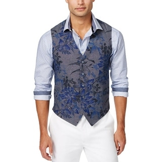Tallia Orange Slim Fit Floral Cotton Vest Denim Blue 36 Regular 36R