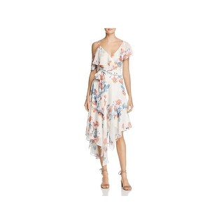 Olivaceous Womens Wrap Dress Floral Ruffled