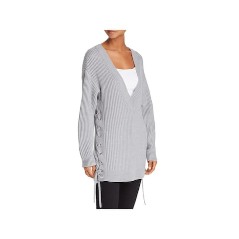 Rag & Bone Womens Pullover Sweater Wool Lace-Up - Light Grey - XS