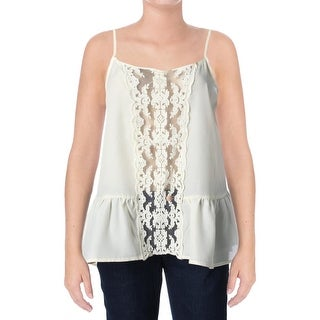 Miss Chievous Womens Juniors Tank Top Crepe Crochet Front