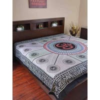 Handmade 100% Cotton Mandala Om Tie Dye Tapestry Tablecloth Spread Full Grey Yoga