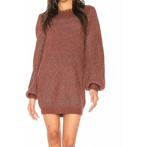 MINKPINK Womens Sweater Dress Mulberry Red Size Medium M Chunky Rib-Trim