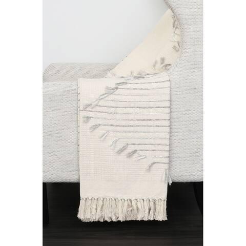 50x60 Macey Cotton Embroirdered Tassel Trim Decorative Throw