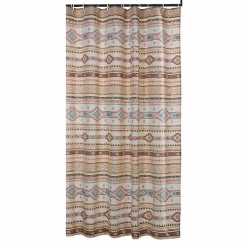 Polyester Shower Curtain with Traditional Kilim Pattern, Multicolor