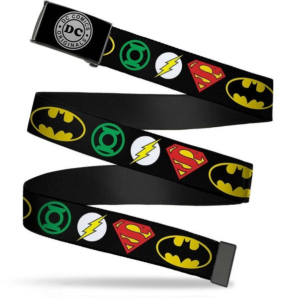 Dc Originals Reverse Brushed Silver Cam Justice League Superhero Logos Web Belt