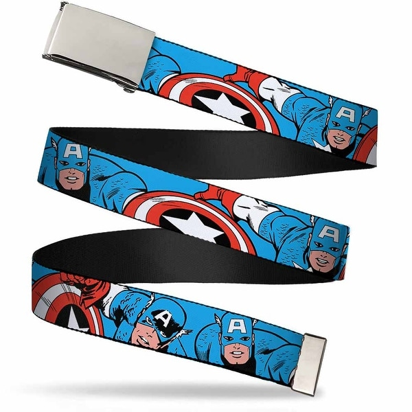 Marvel Comics Blank Chrome Buckle Captain America In Action Blue Red Web Belt