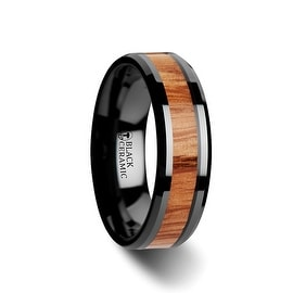 OBLIVION Red Oak Wood Inlaid Black Ceramic Ring with Bevels