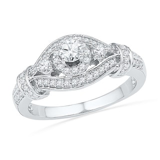 10k White Gold Womens Natural Round Diamond Bridal Wedding Engagement Anniversary Ring 5/8 Cttw