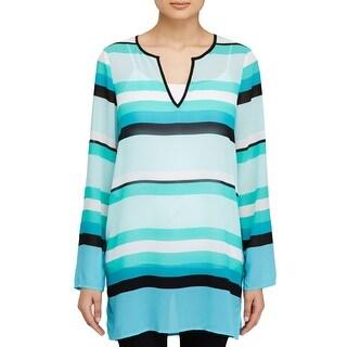 MICHAEL Michael Kors Womens Blouse Striped Long Sleeves