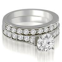1.75 cttw. 14K White Gold Cathedral Round Cut Diamond Bridal Set