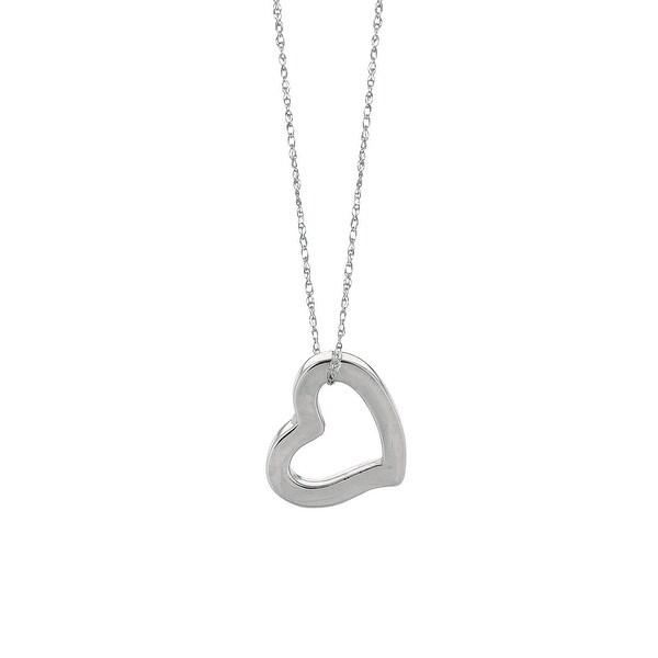 "Mcs Jewelry Inc 14 KARAT WHITE GOLD HEART PENDANT NECKLACE (18"")"