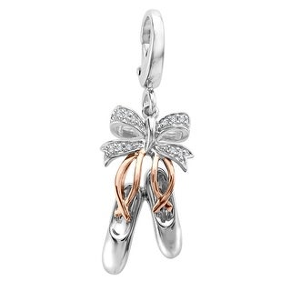 Ballet Slippers Charm with Diamond Accents in Sterling Silver & 14K Rose Gold