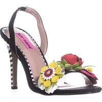 Betsey Johnson Brena Floral Heels, Black Multi