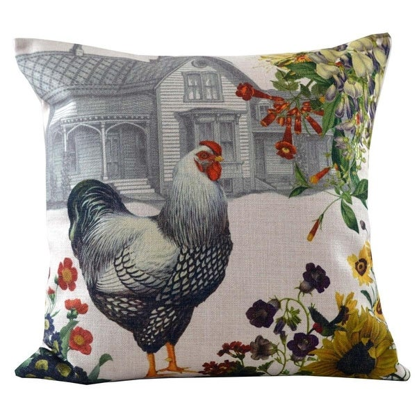 Decorative Throw Pillow with Black and White Hen and Farmhouse Background 18""