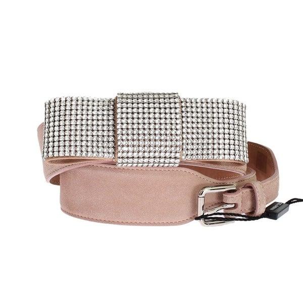 Dolce & Gabbana Pink Suede Swarovski Crystal Belt