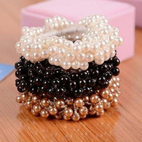 Women Fashion Rope Scrunchie Ponytail Holder Faux Pearl Beads Elastic Hair Band