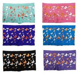 Junior Teenage Girls 6 Pack Seamless Butterfly Golden Print Boyshorts Panties