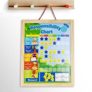 Wooden Rewards Chore Chart Responsibility Behavior Star Chart Magnetic Board