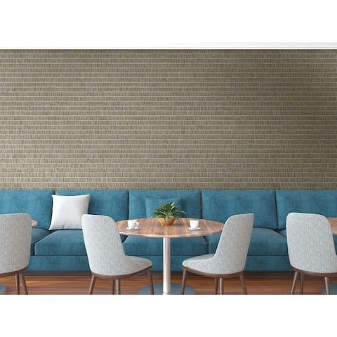 Seabrook Designs Blue Grass Band Embossed Vinyl Unpasted Wallpaper