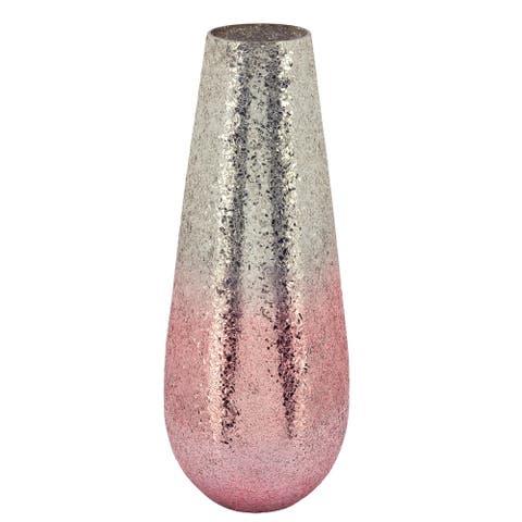 """18"""" Crackled Vase, Blush Ombre"""