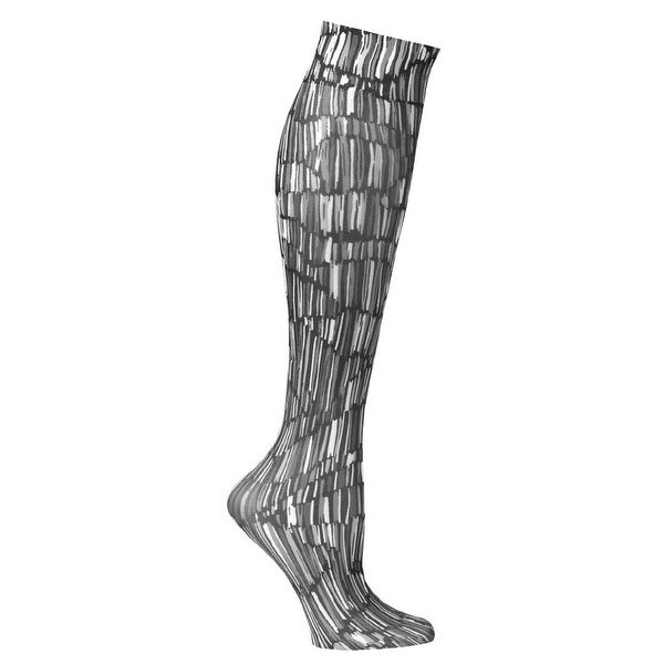 Printed Mild Compression Wide Calf Knee High Stockings - Women's - Pylon Black