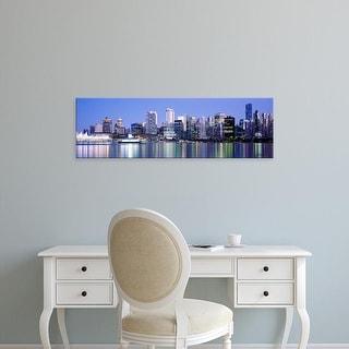 Easy Art Prints Panoramic Images's 'Vancouver skyline at night, British Columbia, Canada' Premium Canvas Art