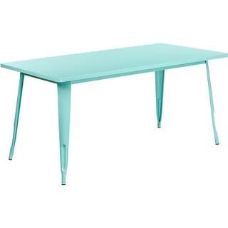 Kendrick Rectangular 31.5'' x 63'' Mint Green Metal Table for Indoor/Outdoor/Patio/Bar/Restaurant