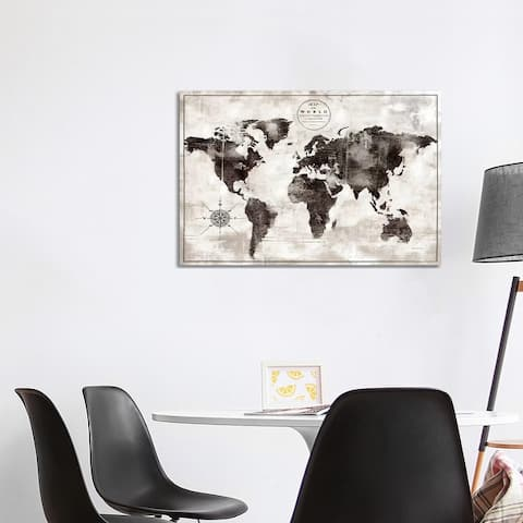 """iCanvas """"Rustic World Map Black and White"""" by Marie Elaine Cusson Canvas Print"""