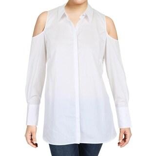 Lauren Ralph Lauren Womens Plus Adelshy Button-Down Top Cold Shoulder