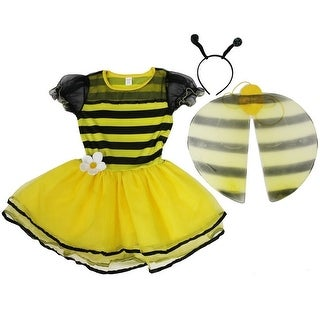 Wenchoice Girls Yellow Bumble Bee Wings Antennae Dress Set