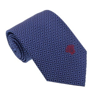Versace Blue Woven Chain Grid Tie