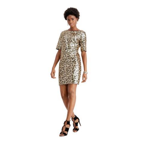 BETSEY JOHNSON Gold Short Sleeve Short Dress 2