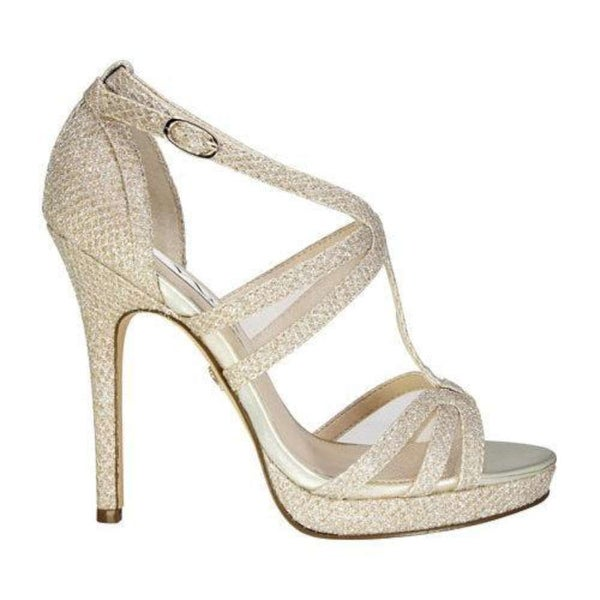 Nina Womens Fanetta Open Toe Special Occasion Ankle, Silver Diam, Size 10.0