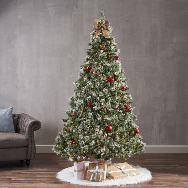 7-ft Spruce Pre-Lit or Unlit Artificial Christmas Tree with Snow, Glitter Branches, Frosted Pinecones by Christopher Knight Home. Opens flyout.