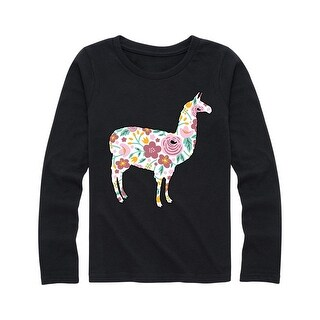 Floral Filled Llama - Youth Girl Long Sleeve Tee
